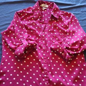 EXPRESS Pink/White Polka Dot Portofino Shirt